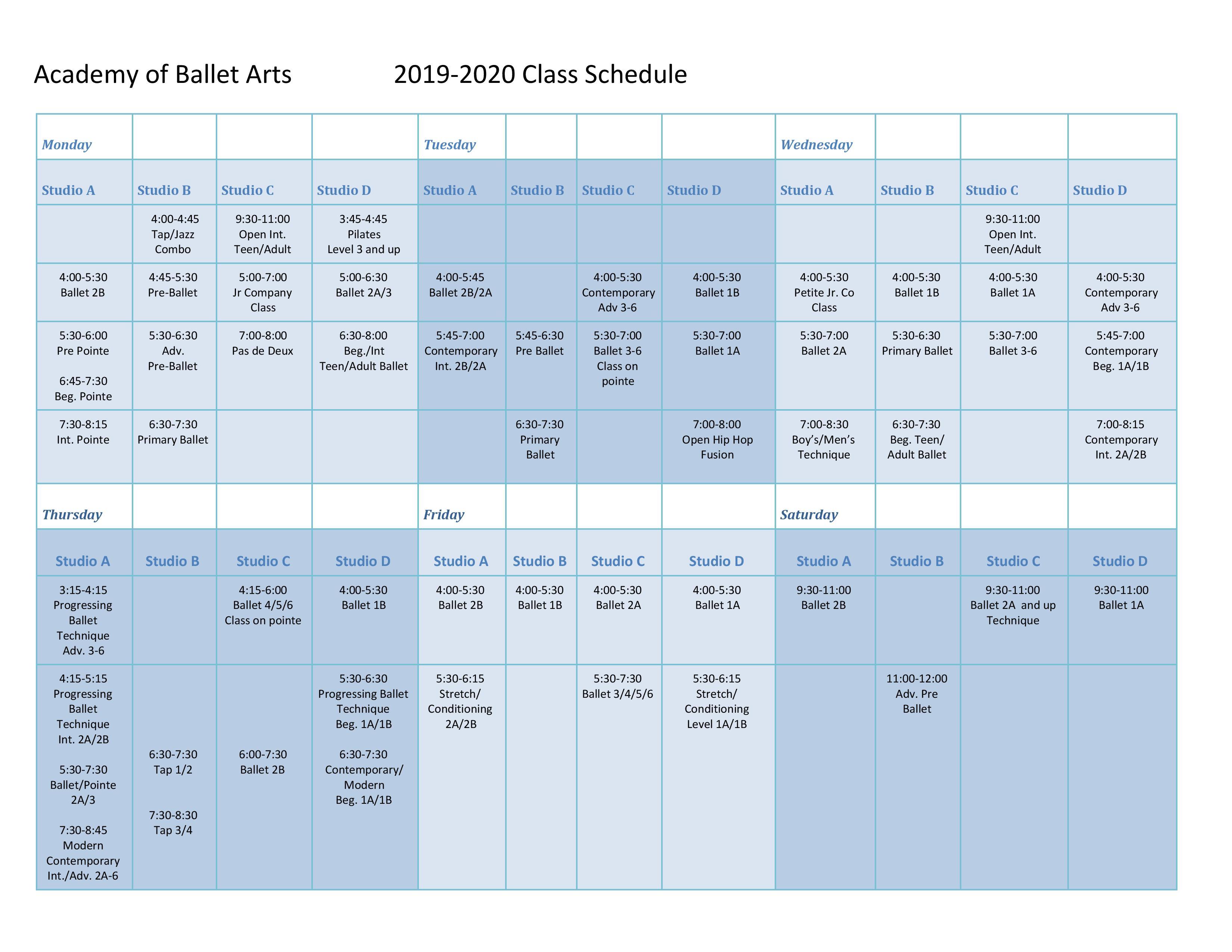 Schedule C 2020.Class Schedule Academy Of Ballet Arts
